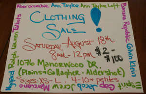 Clothing Sale/garage sale Sat Aug 18 from 8am-12pm