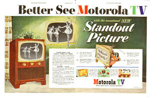 Large (20 x 13 ½ ) 1952 2-page ad for Motorola TVs