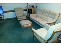 Parker knowles 3 piece suit and footstool
