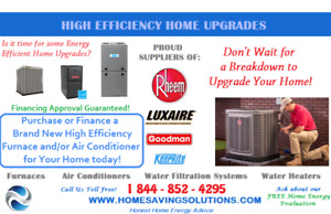 New High Efficiency Furnace or A/C installed for $0 Down
