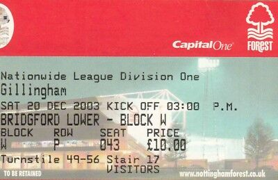 Ticket - Nottingham Forest v Gillingham 20.12.03