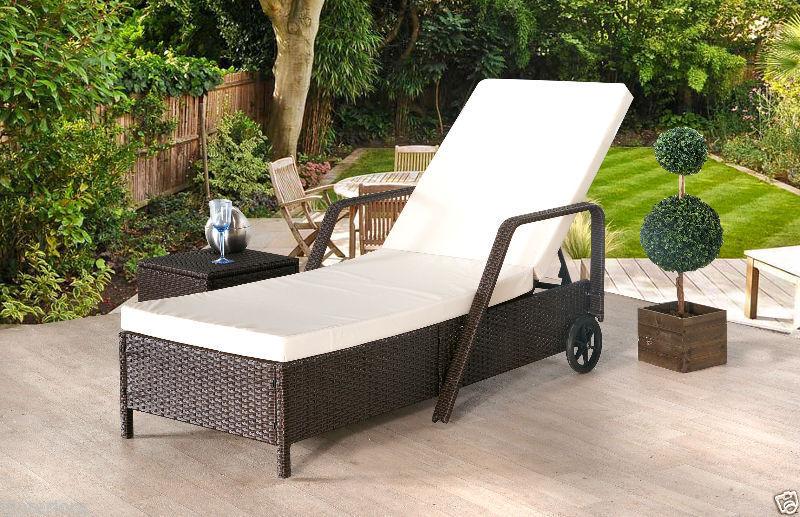 Garden Furniture - RATTAN DAY BED RECLINING SUN LOUNGER OUTDOOR GARDEN FURNITURE PATIO SET NEW