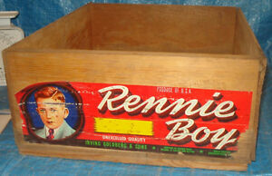 BH353 Vtg Rennie Boy Grape Fruit Wood Wooden Crate Box