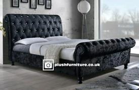Luxury crush and plush velvet sleigh beds
