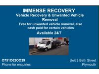 Immense recovery & unwanted vehicle removal