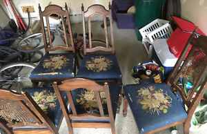 Solid oak dining room chairs(5) and 1 armchair - no table