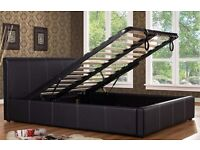 BRAND NEW LEATHER BED FRAMES WITH STORAGE / WITHOUT STORAGE BLACK -BROWN FREE DELIVERY