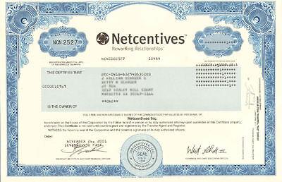 Netcentives Inc. > dot-com bubble internet stock certificate share