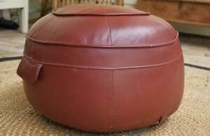 GENUINE VINTAGE SOFT CHESTNUT LEATHER POUFFE FOOTSTOOL OTTOMAN Alberton Port Adelaide Area Preview