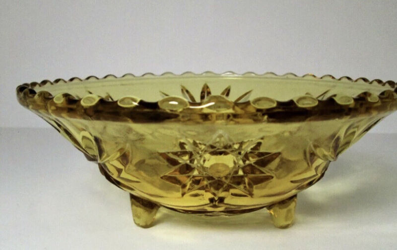 "Anchor Hocking  Amber Footed Bowl 6 3/4"" Early American Prescut Bon Bon Dish"