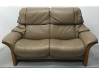 Ekornes stressless Leather 2 seater reclining sofa Beige 270321