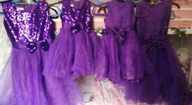 4 x purple flower girl dresses