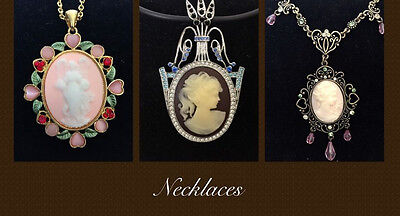 New 3 Pcs Lot Set Vintage Style Cameo Crystals Wedding Party Necklace Gift S149U