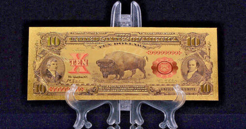 "1899 ""GOLD""$10 BISON GOLD CERTIFICATE Rep.*Banknote~STUNNING DETAIL"
