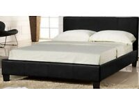 CLEARANCE OFFER!! BRAND NEW DOUBLE LEATHER BED IN BLACK AND BROWN COLOURS