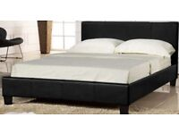 LEATHER BASE WITH HEADBOARD- BRAND NEW DOUBLE LEATHER BED FRAME WITH DEEP QUILT THICK MATTRESS