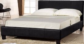 SALE SALE SALE!! DOUBLE LEATHER BED BLACK AND BROWN WITH VARIETY OF MATTRESSES
