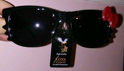 Hello Kitty Bow Sunglasses and Whiskers Black W/ Red Bow! So Adorable!! (Hello Kitty Whiskers)