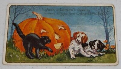 Vintage Post Card Whitney Worcester MA HALLOWEEN black cat spaniel dogs used