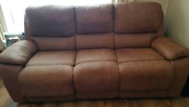 3 seater recliner sofa faux suede