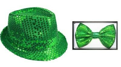 Green Sequin Fedora Hat w/ matching bow tie - Great for St. Patricks Day - Sequin Fedora