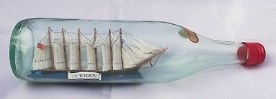 Vintage SHIP IN BOTTLE Fully-rigged Ship HAND-CRAFTED BEAUTIFUL COLLECTOR'S ITEM