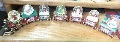 Bradford Exchange Wonderland Express Mini Train Thomas Kinkade Snowdome Set/7 Pc