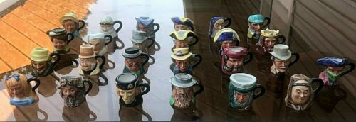 VINTAGE 1982 FRANKLIN MINT TOBY MINI CHARACTER MUGS (FULL SET OF 25) w/ CARDS