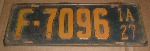 1927 Iowa License Plate F-7096 Tag