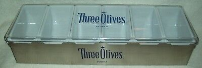 Three Olives Stainless 6 Compartment Condiment Fruit Tray Garnish Bar Caddy New