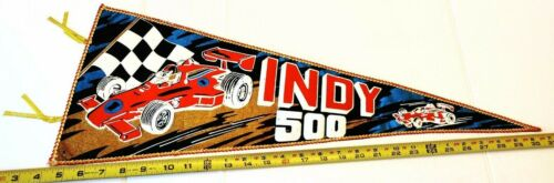 """VINTAGE INDY 500 PENNANT MADE IN JAPAN 26.5"""" {D 145}"""