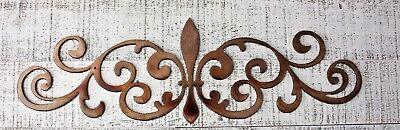 Ornamental Scroll (Ornamental Fleur de Lis Scroll Copper/Bronze Metal Accent 15 1/2