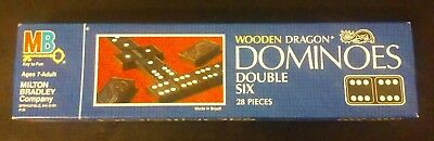 Wooden Dragon Double Six Dominoes 1983 Complete 28pc set. Perfect Condition