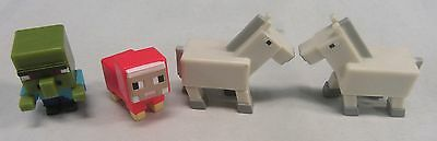 Minecraft Grass Series 1 Mini Figures Lot Of 4 Dyed Sheep Zombie Villager Horse