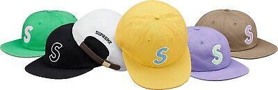 SUPREME Felt S Logo 6 Panel Black Light Yellow box logo camp cap tnf S/S 18