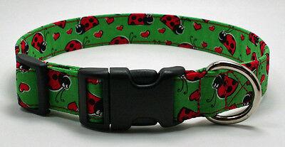 Valentine Hearts & Ladybugs Dog Collar Adjustable Handmade Custom Designer Heart Adjustable Collar