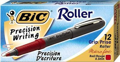 Bic Grip Roller Extra Fine 0.5 Mm Red Ink Dozen Box Grem11 New Free Shi