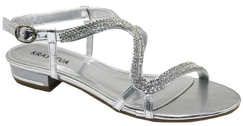 Diamante flat wedding shoes ebay for Flat dress sandals for weddings