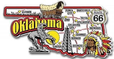(Oklahoma Jumbo State Map Fridge Magnet)