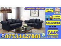 BRAND NEW LEATHER CHESTERFEILD 3+2SEATER SOFA