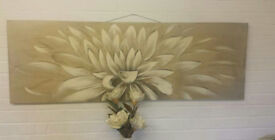 large beige gold & brown flower canvas picture wall art 150cm