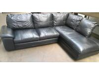 Black leather corner sofa. Delivery available