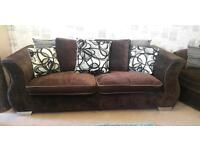 Brown fabric sofa & large swivel chair. Delivery available