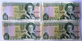 OF JERSEY – FOUR ONE POUND NOTES – SIGNED BY GEORGE BAIRD - LESLIE MAY