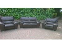 Leather suite 2 seater plus 2 chair's dark brown