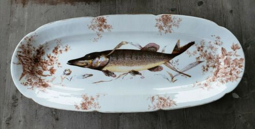 "Antique Bohemian Austrian Springer Porcelain 22.5"" Long Fish Serving Platter"