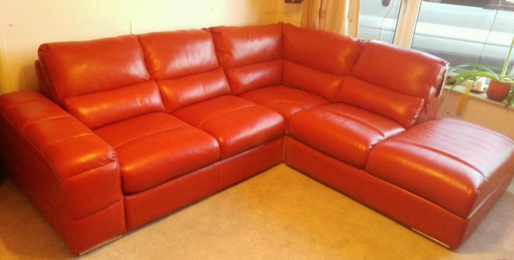Reduced New Burnt Orange Corner Sofa Leather