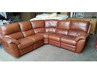 Tan Leather Corner Recliner Sofa