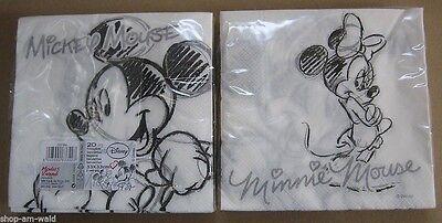 Mouse Maus black & white - 1 Packung mit 20 Servietten (Minnie Mouse Servietten)