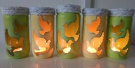 SET OF 5 CANDLE HOLDERS ONLY £8